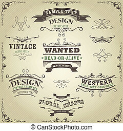 Illustration of a set of hand drawn western like sketched banners, ribbons, and far west design elements on vintage striped background