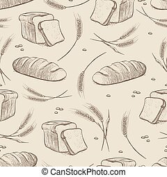 Hand drawn wheat and bread seamless pattern