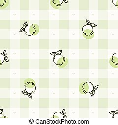 Hand drawn whimsical apple gingham seamless pattern. Vector ...