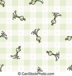 Hand drawn whimsical beetroot gingham seamless pattern. ...