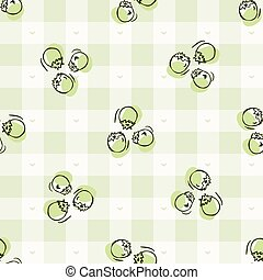 Hand drawn whimsical berries gingham seamless pattern. ...