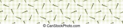 Hand drawn whimsical carrot gingham seamless pattern. Vector...
