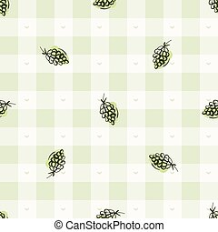 Hand drawn whimsical grape gingham seamless pattern. Vector ...