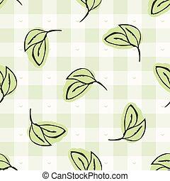 Hand drawn whimsical herb twig gingham seamless pattern. ...