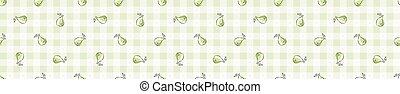 Hand drawn whimsical pear gingham seamless border pattern. ...