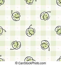 Hand drawn whimsical strawberry gingham seamless pattern. ...