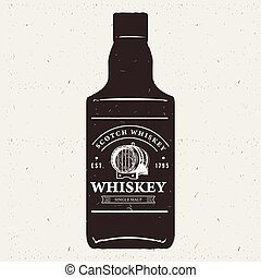 Hand drawn whiskey bottle with logo. Typography monochrome hipster vintage label. For flayer poster or t-shirt print.