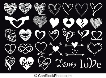 Hand drawn white hearts, vector set