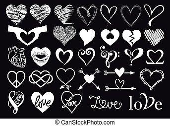 Hand drawn white hearts, vector set