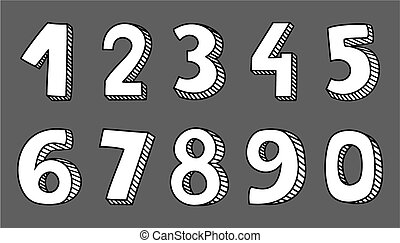 Hand drawn white vector numbers