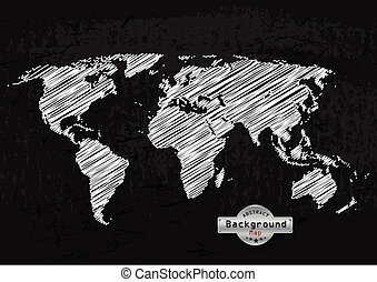 hand drawn white world map on a grey background. Vector