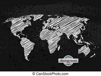 hand drawn white world map on grey background.