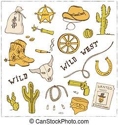 Hand drawn wild west set.