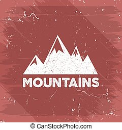 Hand drawn wilderness old style typography poster with retro mountains. Letterpress Print Rubber Stamp Effect. Watercolor, ink splash background. Mountain label. Vector vintage mountains badge design