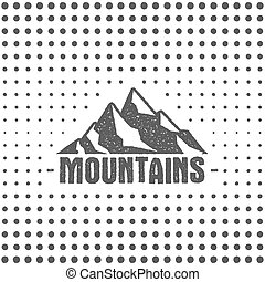 Hand drawn wilderness old style typography poster with retro mountains. Letterpress Print Rubber Stamp Effect. Halftone hand drawn background. Mountain label. Vector vintage mountains badge design