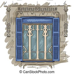 Hand drawn window. Vintage artistic architecture window with blue shutters