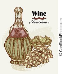 Hand drawn wine bottle with grape vintage. Vector sketch