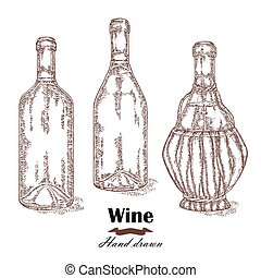 Hand drawn wine bottles vintage. Vector sketch