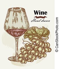 Hand drawn wine glass with grape vintage. Vector sketch