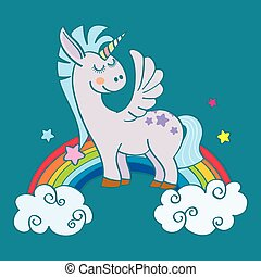 Hand drawn winged unicorn on rainbow - Hand drawn winged...