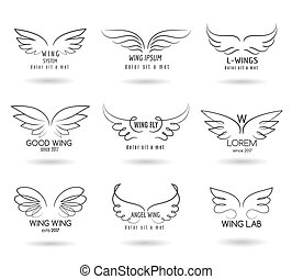 Hand drawn wings logo set. Vector doodle winged icons