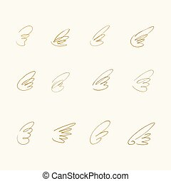 Hand Drawn Wings. Set of design elements