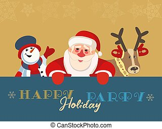 Hand drawn winter holiday party flat color vector