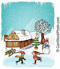 Hand drawn winter scenery