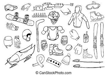 Hand drawn winter sports equipment set. Vector illustration