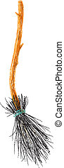 Hand drawn witches broom stick isolated on white background. Pencil drawing. Scary Halloween collection.
