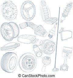 blue pen of car parts