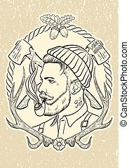 Hand drawn with lumberjack tobacco pipe. - Hand drawn...