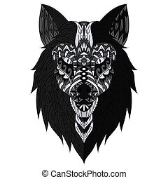 Hand drawn wolf head in zentangle style