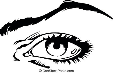 Hand-drawn woman's eye vector illustration isolated