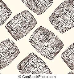Hand drawn wood barrel seamless pattern. Engraving style.