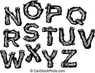 Hand drawn wooden alphabet font