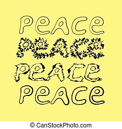 hand-drawn word peace. 4 variants.