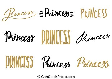 Hand drawn word Princess collection. Vector illustration.