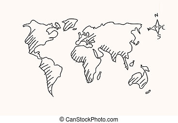 Hand drawn world map. white contour on red background.