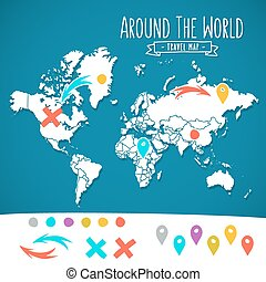 Hand drawn world map with pins and arrows vector design. Cartoon style atlas illustration. Travel poster template.