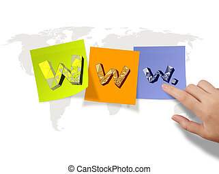 hand drawn WWW. on sticky notes and world map background as internet concept