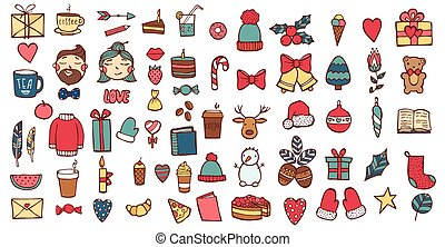 Hand drawn Xmas stickers collection. Christmas signs and symbols vector illustration