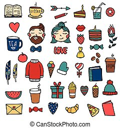 Hand drawn Xmas stickers collection Hipster style. Christmas signs and symbols vector illustration. White background.