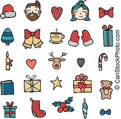 Hand drawn Xmas stickers collection. Hipster style of icons. Christmas signs and symbols vector illustration on white background for your web design.