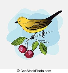 Hand drawn yellow bird on a branch
