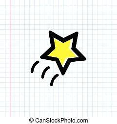 Hand drawn yellow cartoon star icon.