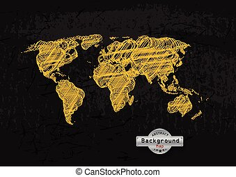 hand drawn yellow world map on a grey background. Vector