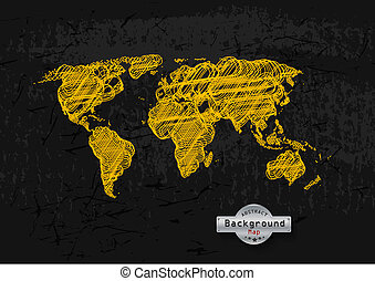 hand drawn yellow world map on grey background.