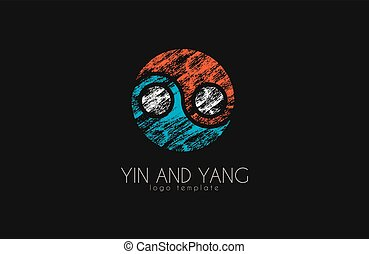 hand drawn ying yang symbol of harmony and balance, Yin and Yang logo in grunge style. Creative logo
