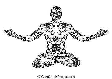 Hand drawn Yoga lotus pose with floral elements in black and white doodle style. Pattern for coloring book